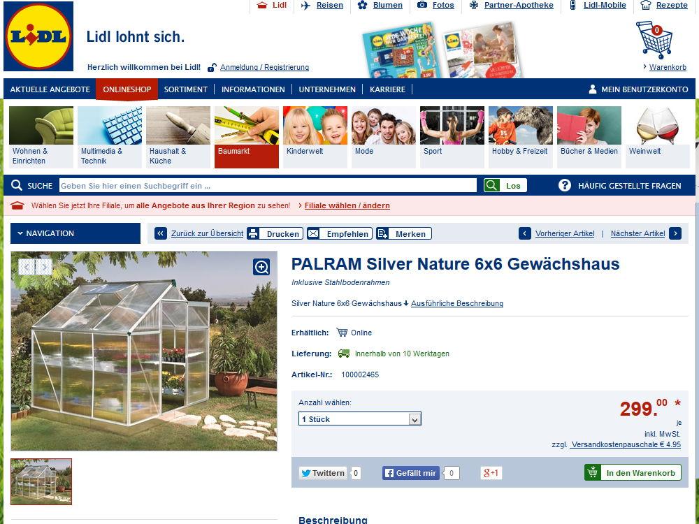 Palram Gewächshaus Silver Nature 6x6 - Screenshot der Lidl-Onlineshop Seite